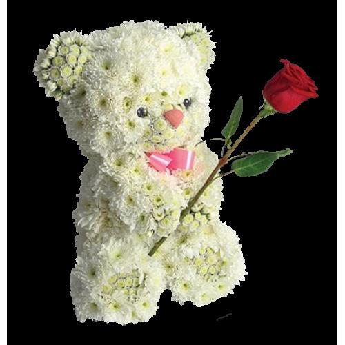 Купить на заказ Заказать Медвежонок с цветком с доставкой по Павлодару  с доставкой в Павлодаре