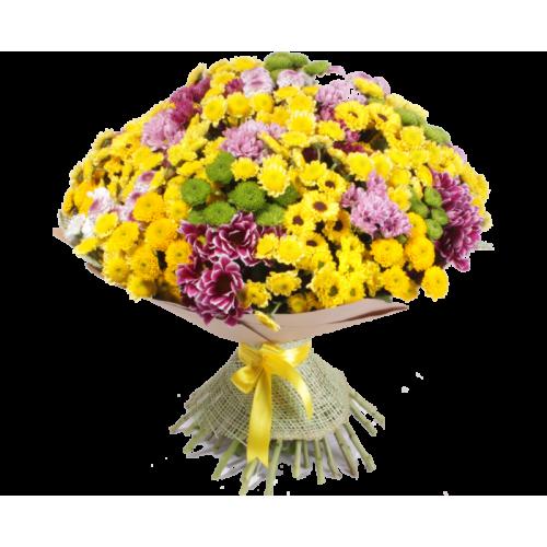 Купить на заказ Заказать Букет из 101 хризантемы с доставкой по Павлодару  с доставкой в Павлодаре
