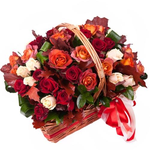 Купить на заказ Заказать Корзина с цветами 10 с доставкой по Павлодару  с доставкой в Павлодаре