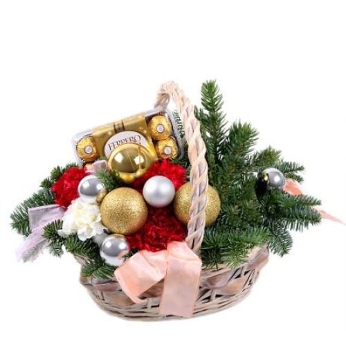 Купить на заказ Заказать Корзинка «Новогоднее настроение» с доставкой по Павлодару  с доставкой в Павлодаре