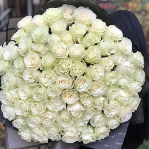 Купить на заказ Букет из 75 белых роз с доставкой в Павлодаре