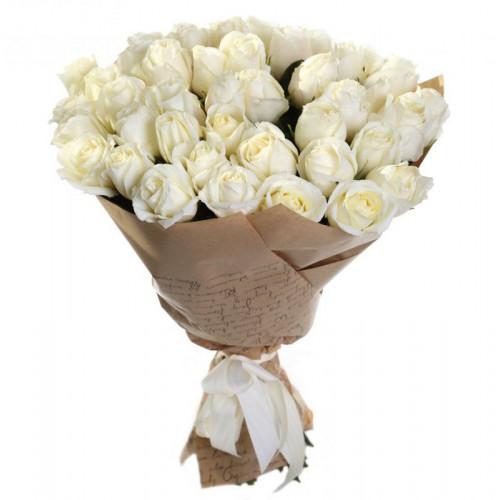Купить на заказ Букет из 35 белых роз с доставкой в Павлодаре