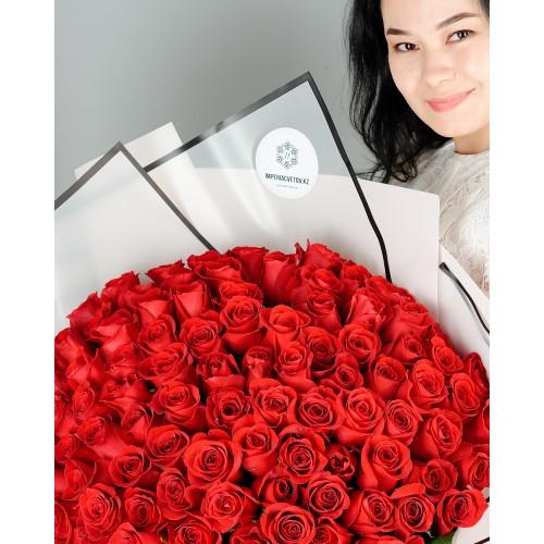 Купить на заказ Заказать Букет из 101 красной розы с доставкой по Павлодару  с доставкой в Павлодаре