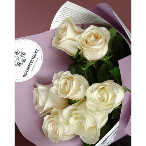 Купить на заказ Букет из 7 белых роз с доставкой в Павлодаре