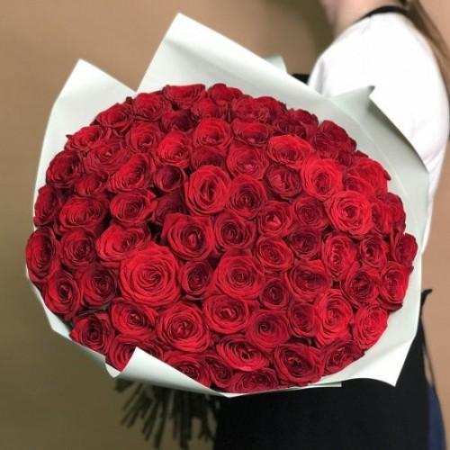 Купить на заказ Букет из 75 красных роз с доставкой в Павлодаре