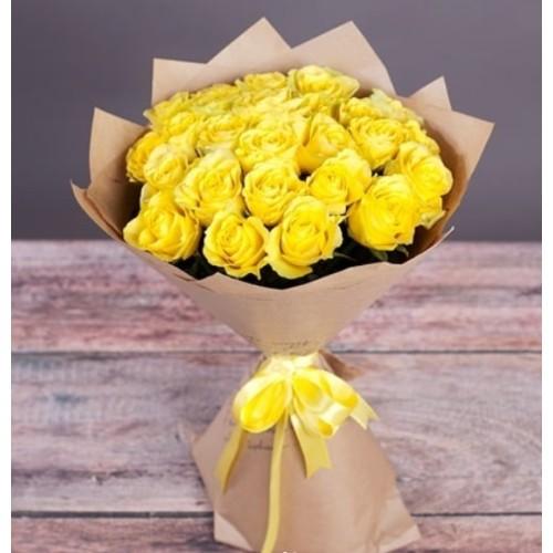 Купить на заказ Букет из желтых роз с доставкой в Павлодаре