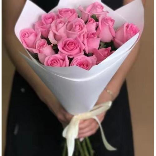 Купить на заказ Заказать 15 розовых роз с доставкой по Павлодару  с доставкой в Павлодаре